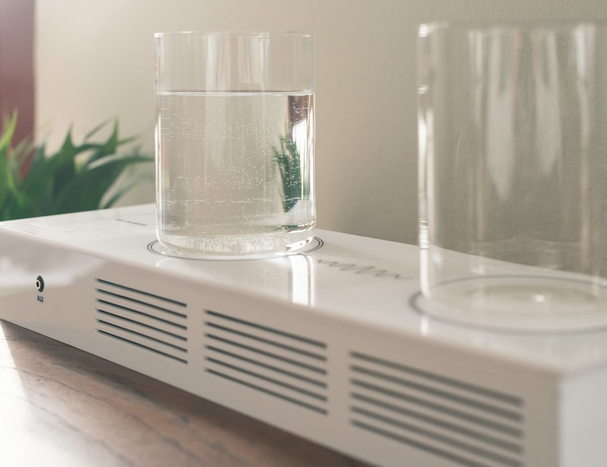 Tore Knudsen Pour Reception Machine Learning Radio lets you control it with glasses of water