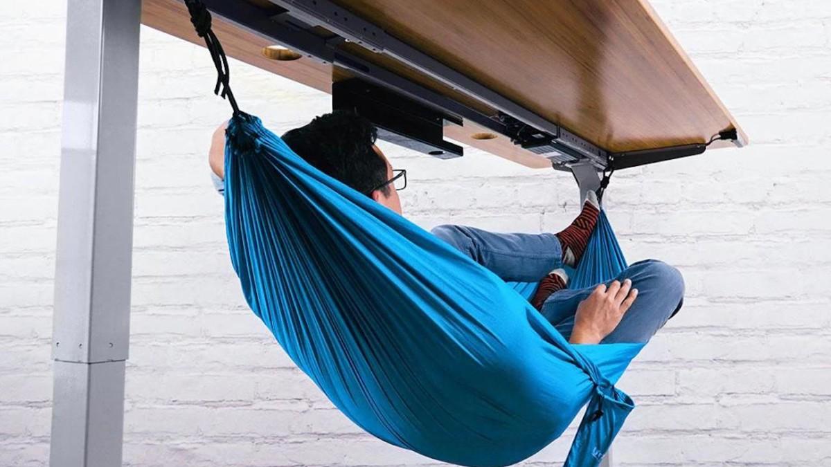 UPLIFT Desk Under Desk Hammock lets you take comfortable naps at work