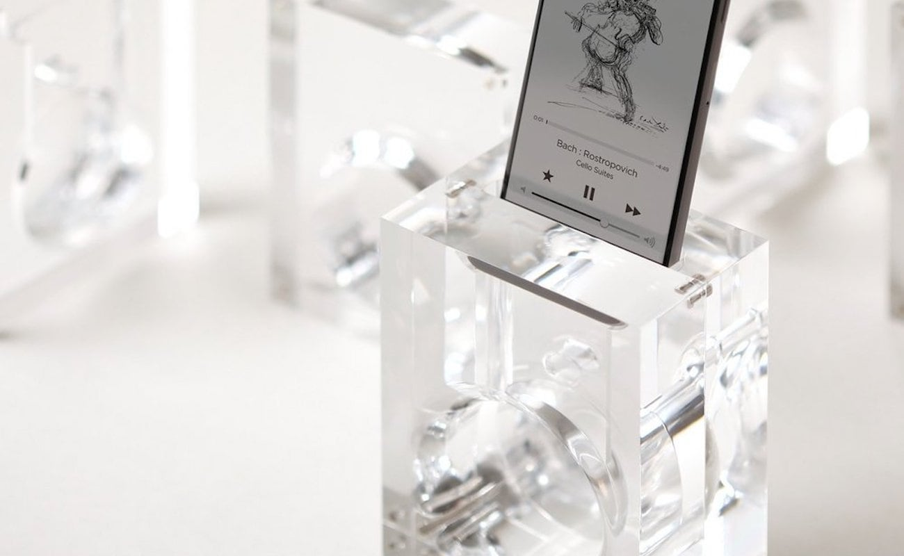 elago Acoustic Amplification iPhone Speaker Stand distributes sound without any wires