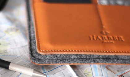 Leather and wool felt wallet close up on a map