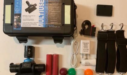 An opened kit of a cool tech gadgets from Kickstarter light set.