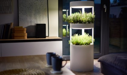 A cool tech gadgets from Kickstarter indoor garden setup in a living room.