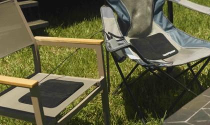 A cool tech gadgets from Kickstarter heating pad on an outdoor chair.