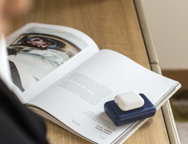 A new tech gadgets charger on a book.