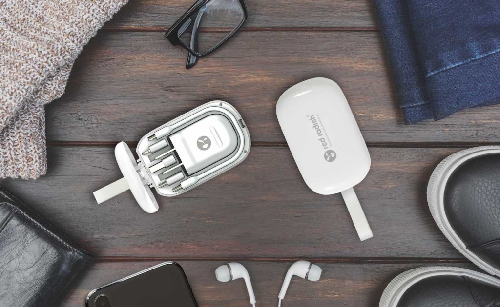 A new tech gadgets charging set open on a table.