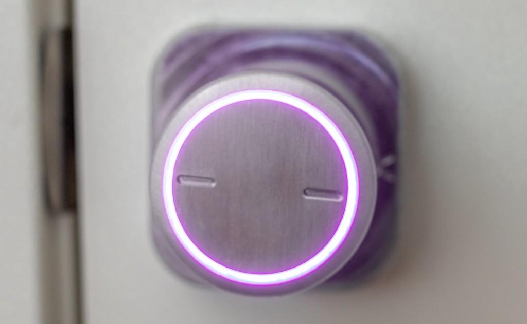A new tech gadgets doorknob light with a purple light