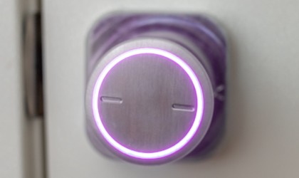 A new tech gadgets doorknob light with a purple light