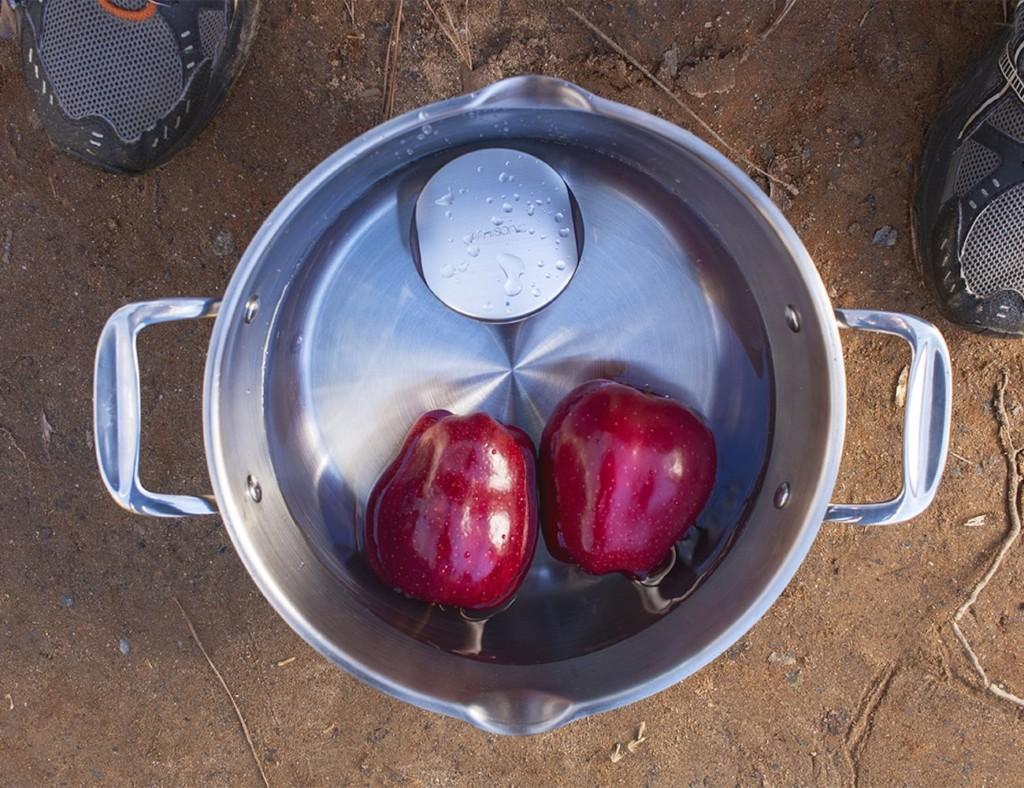 Ultrasonic technology cleans fresh fruit in water