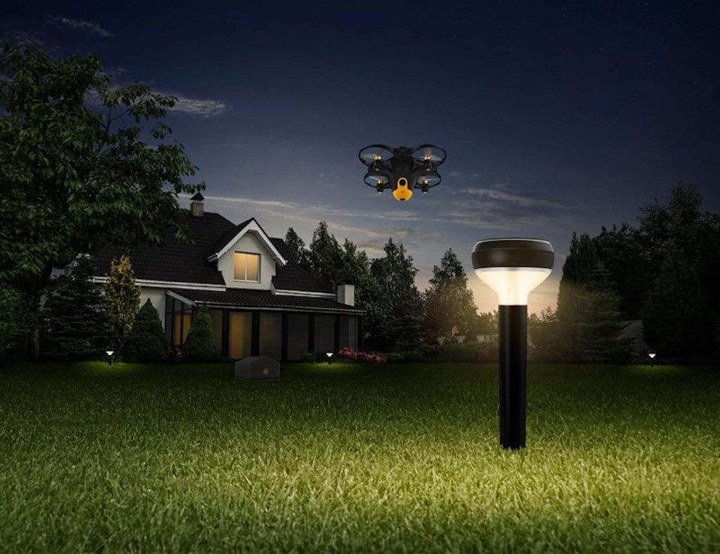 Sunflower smart security combines a drone, a base, and beacons