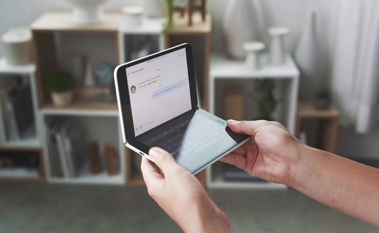 The Surface Duo features a hinged folding design