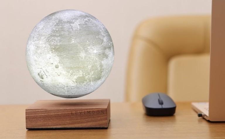Levimoon levitates a detailed model moon above the base