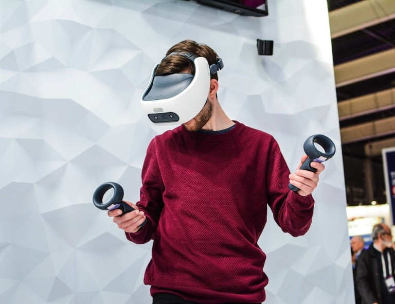 person using HTC Vive headset
