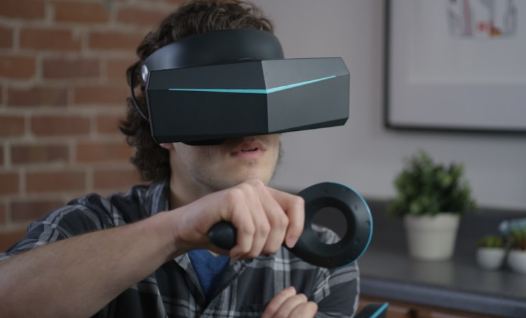 Person using Pimax 8k VR headset