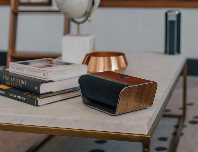A wireless speaker on a table