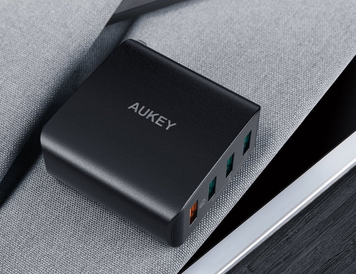 AUKEY Quick Charge 3.0 4-Port USB Wall Charger charges devices four times faster