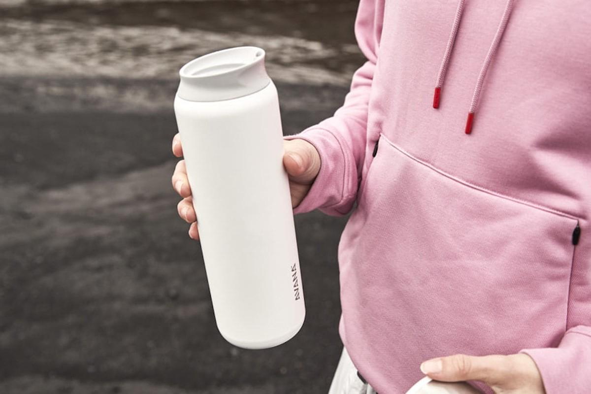 Avana Beckridge Double-Walled Bottle has a unique spout that allows you to sip or pour