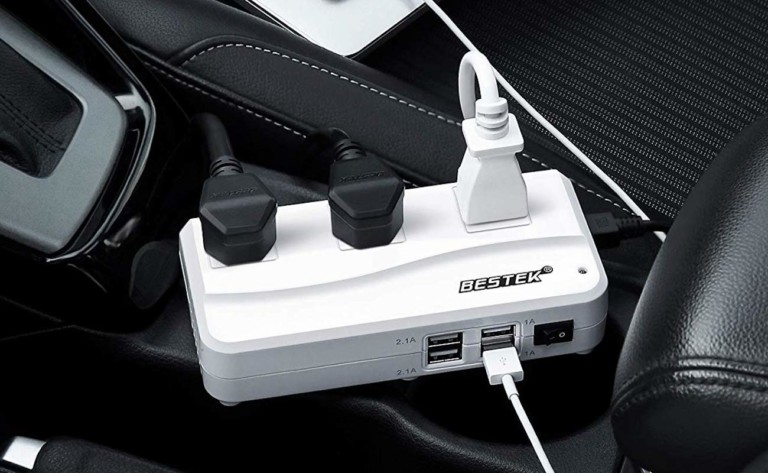 BESTEK 200W Power Inverter Car Adapter provides 500 watts of peak output power