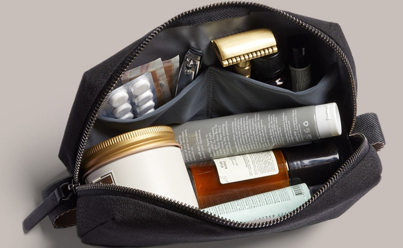 Bellroy Dopp Kit Recycled Toiletry Bag has organized spots for your bathroom essentials