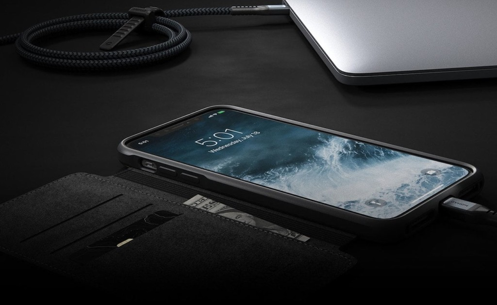 The Nomad iPhone 11 Pro wallet case works with wireless charging