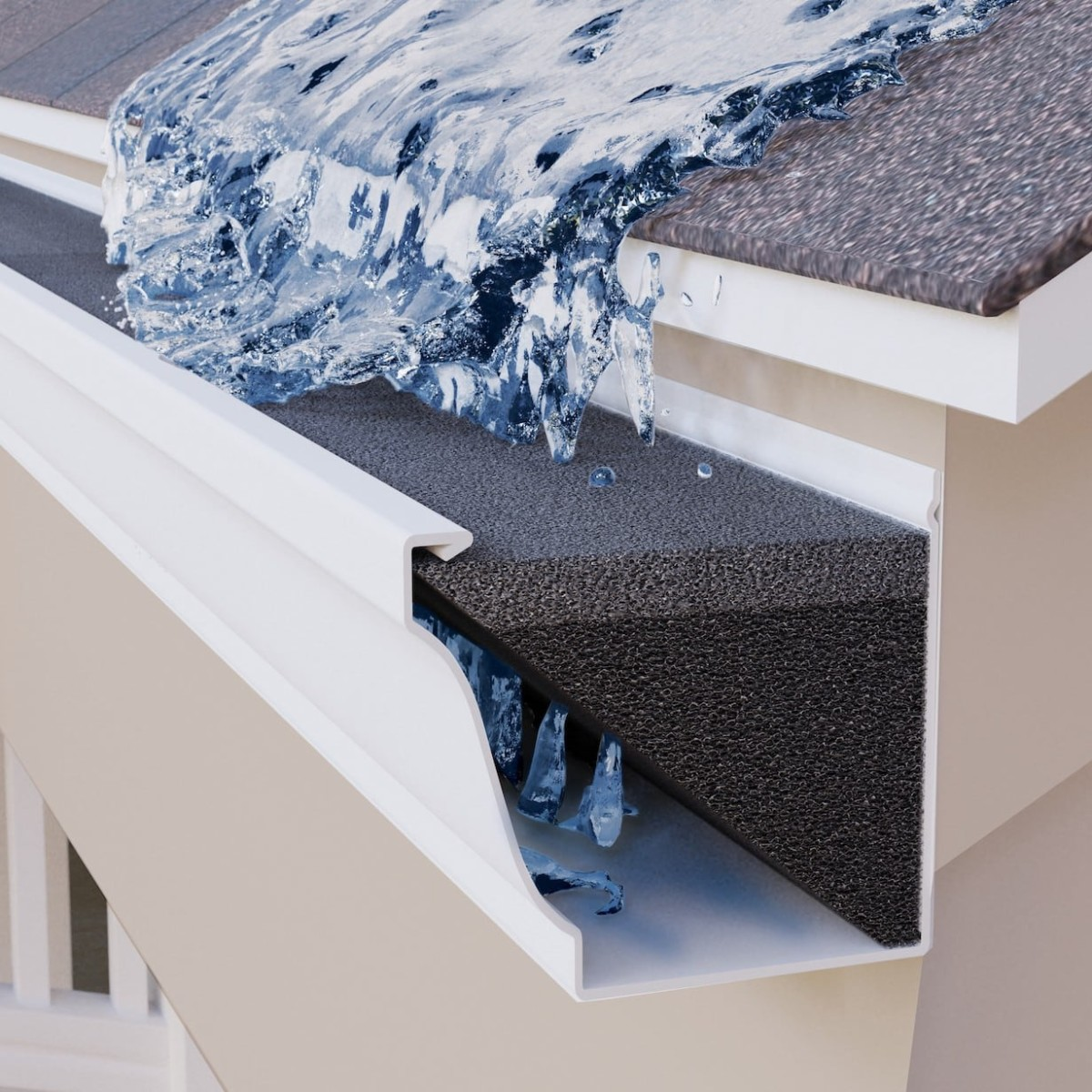 GutterStuff Self-Installed Gutter Guard keeps out leaves, snow, and debris all-year round