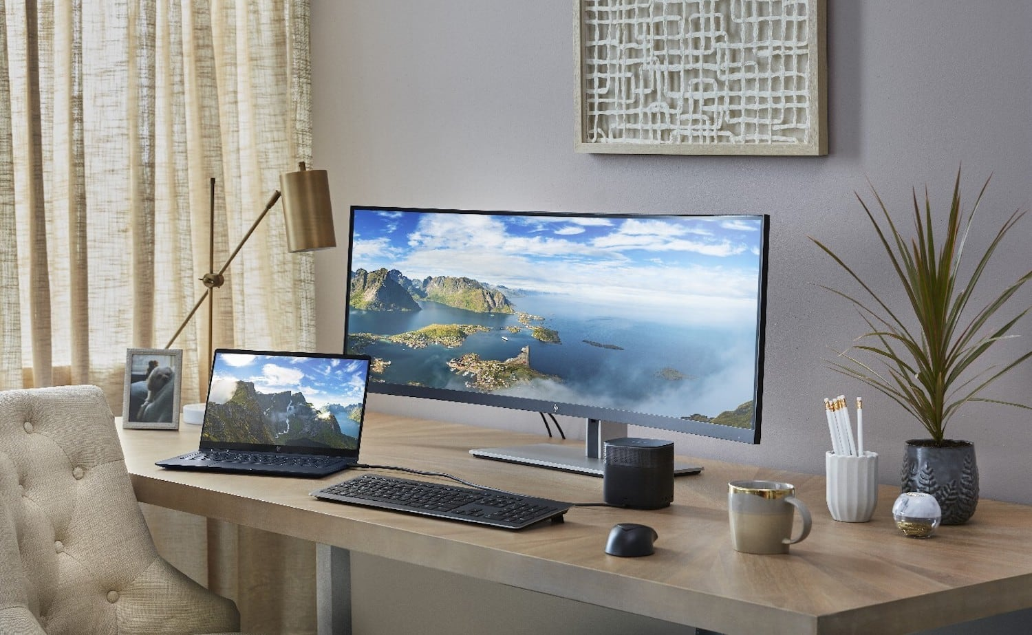 HP S430C Curved Ultrawide Monitor 43.4″ Display lets you simultaneously control two computers