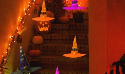 Halloween decorations - Hanging Lighted Glowing Witch Hat Decorations Cropped