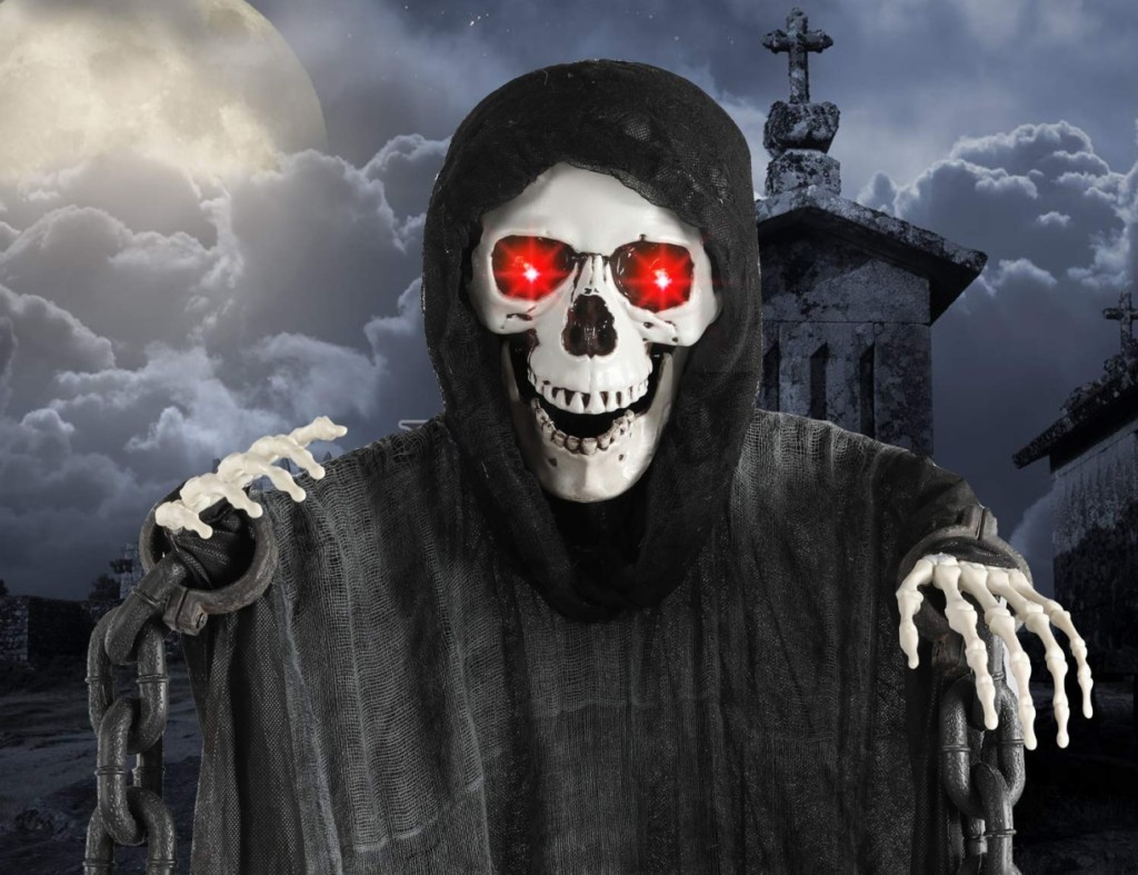 Halloween decorations - Motion-Activated Glowing Hanging Grim Reaper 1 Cropped