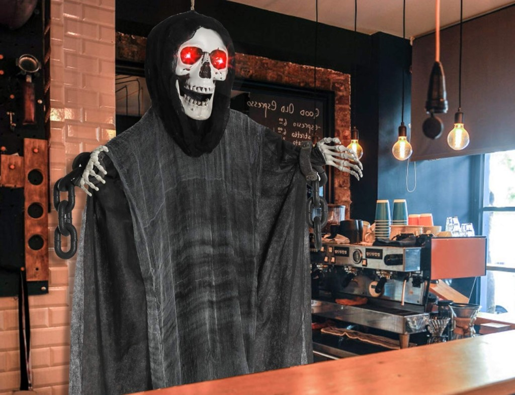 Halloween decorations - Motion-Activated Glowing Hanging Grim Reaper 2 Cropped
