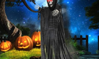 Halloween decorations - Motion-Activated Glowing Hanging Grim Reaper Cropped