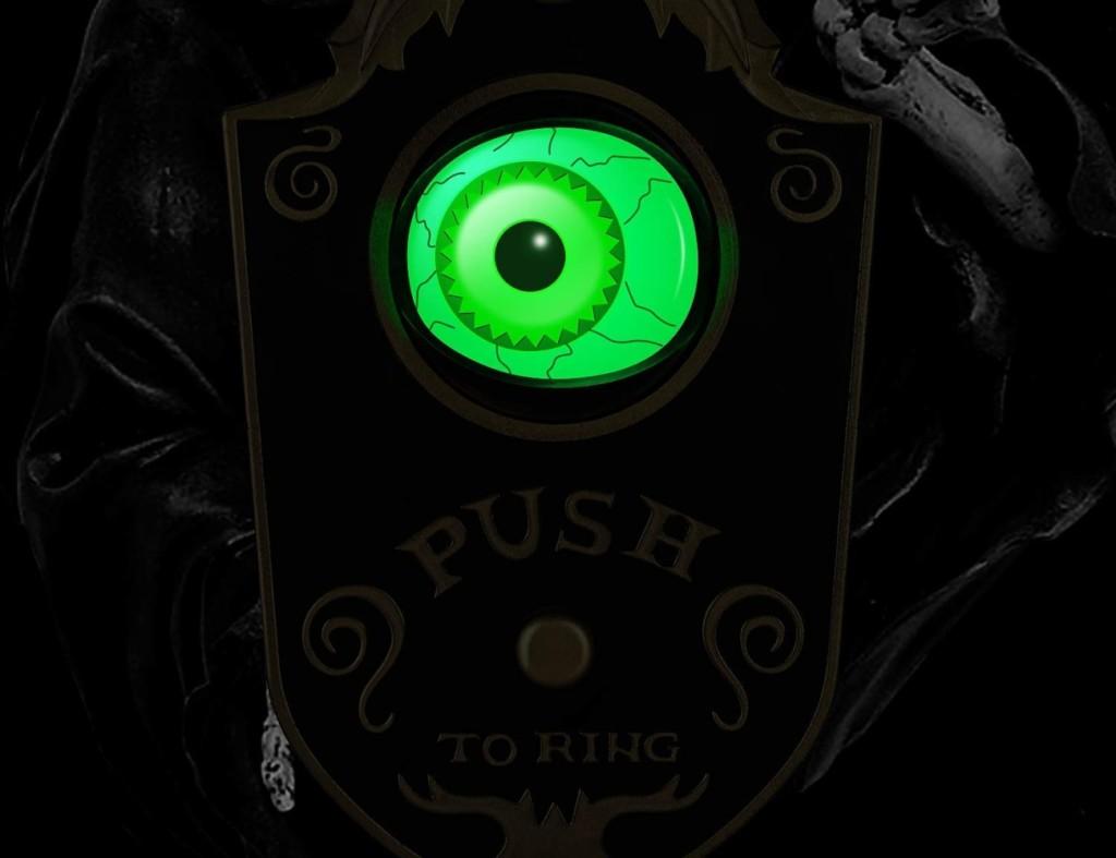Halloween decorations - Sler Animated Lightup Talking Eyeball Doorbell Cropped