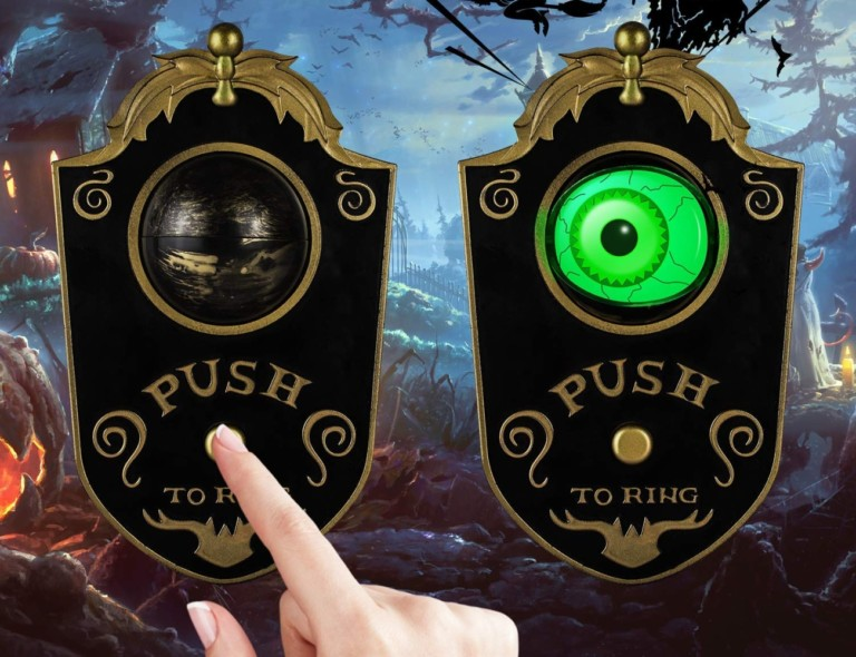 Halloween decorations - Sler Animated Lightup Talking Eyeball Doorbell Cropped