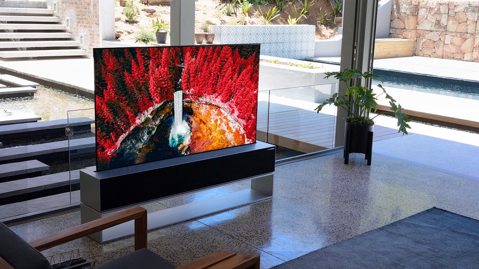 LG SIGNATURE OLED R rollable TV boasts an ultra-thin screen that transforms into a speaker