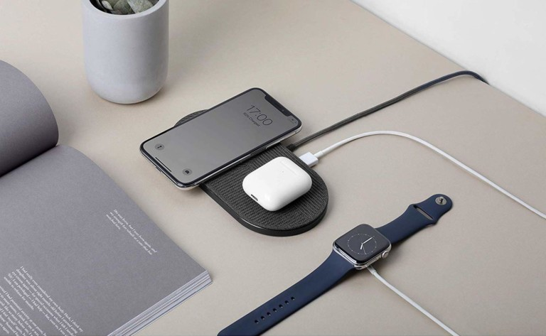 Native Union Drop XL double wireless charger simultaneously charges 3 devices