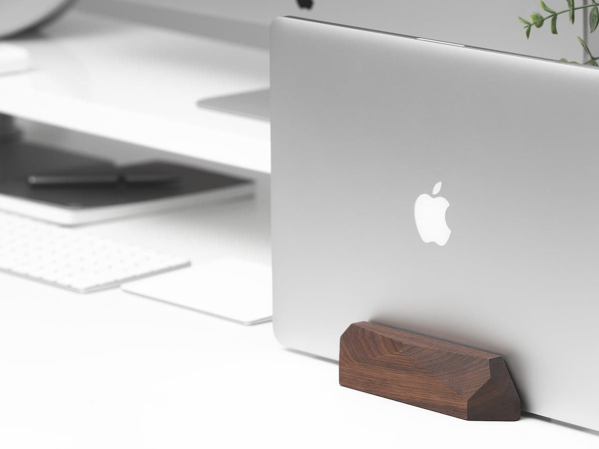 Oakywood Laptop Dock Vertical Wooden Stand frees up more space on your desk
