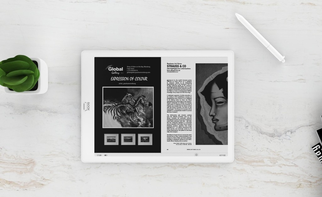 paper-like e-reader with a split view