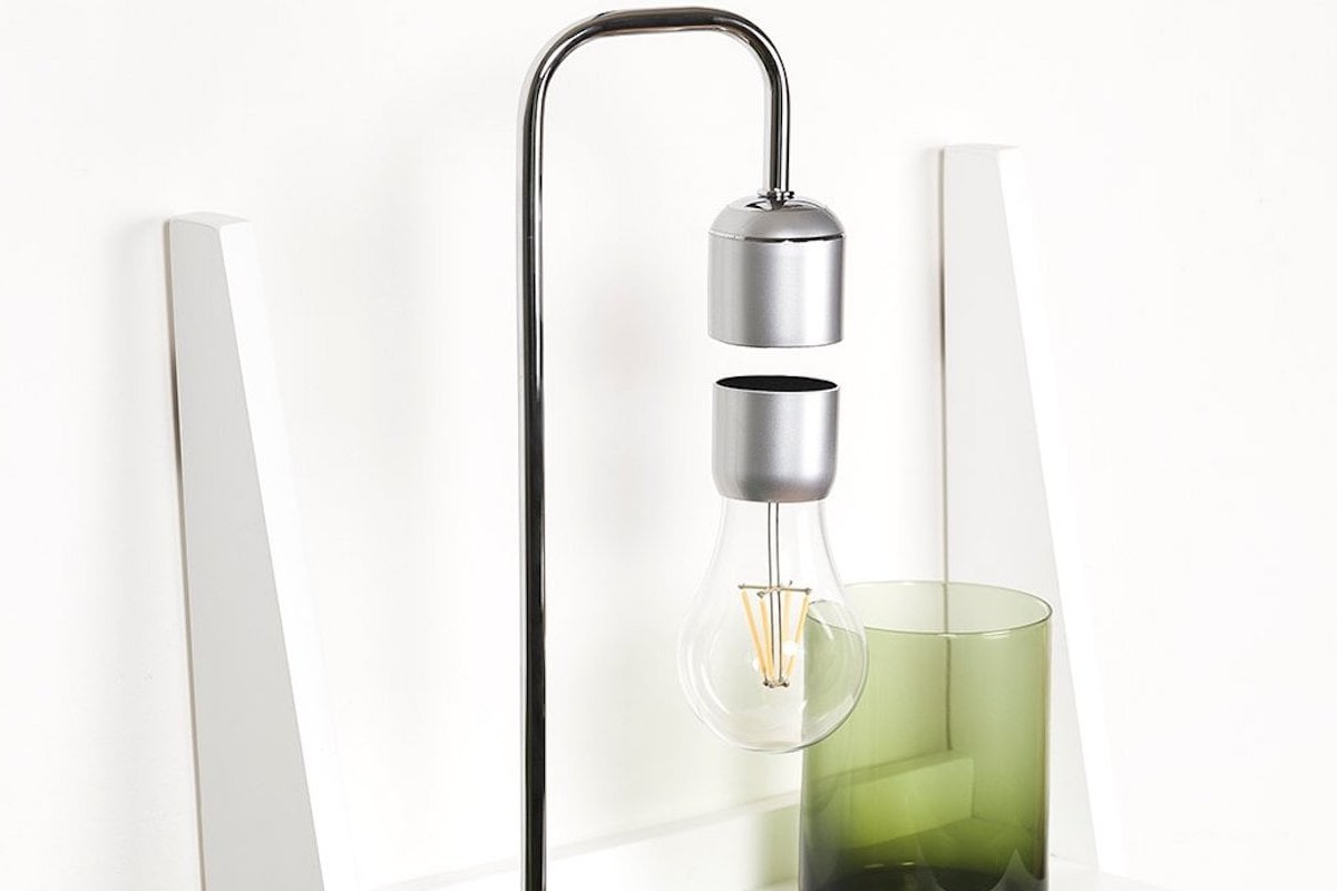 Paer Design Floating Light Bulb Suspended Desk Lamp uses magnets to stay aloft