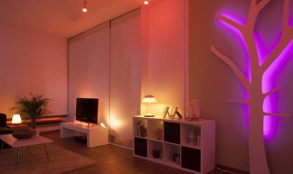Philips Hue in a dark living room