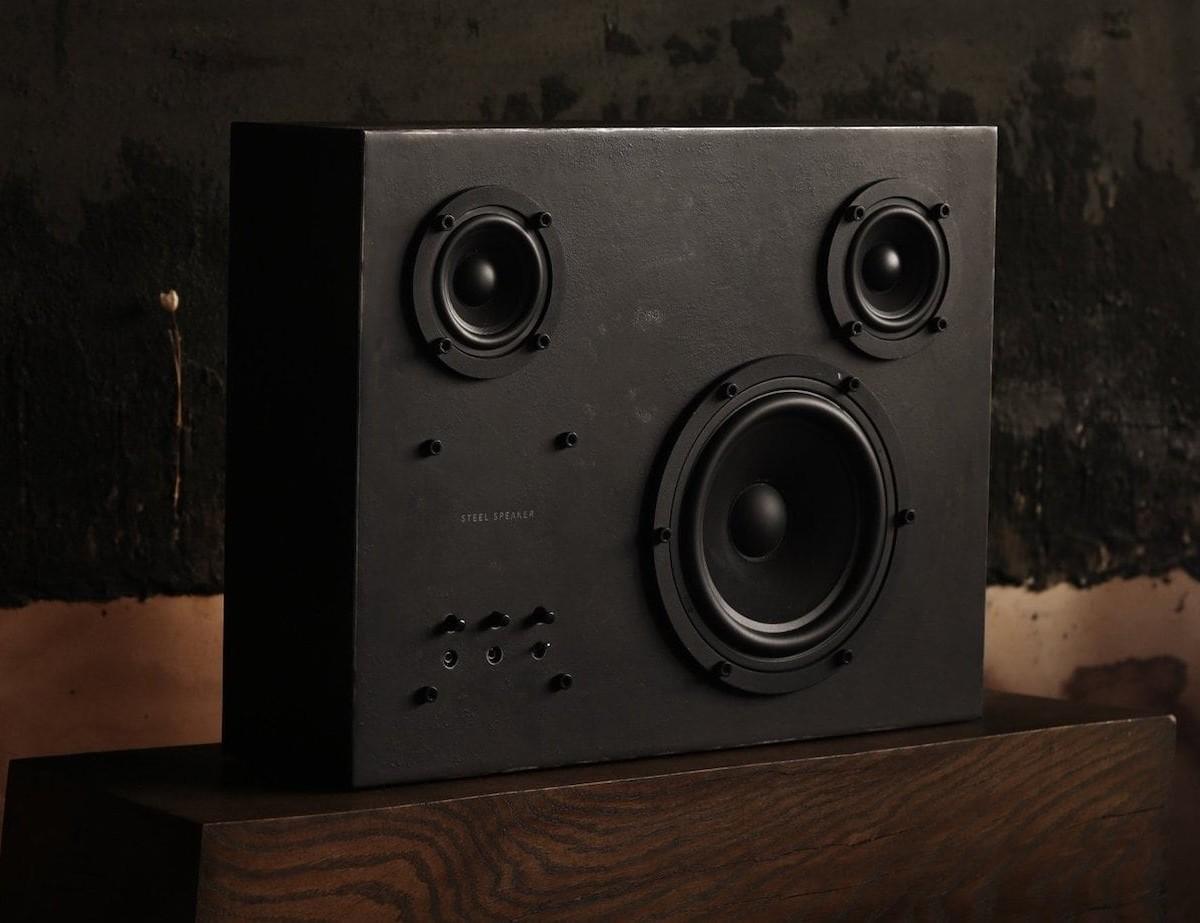 Transparent Sound Handmade Steel Speaker weighs a hefty 20 kilograms