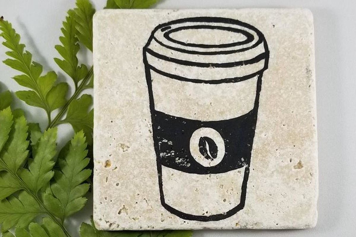 Travertine Coffee Print Coasters are made from one solid piece of limestone