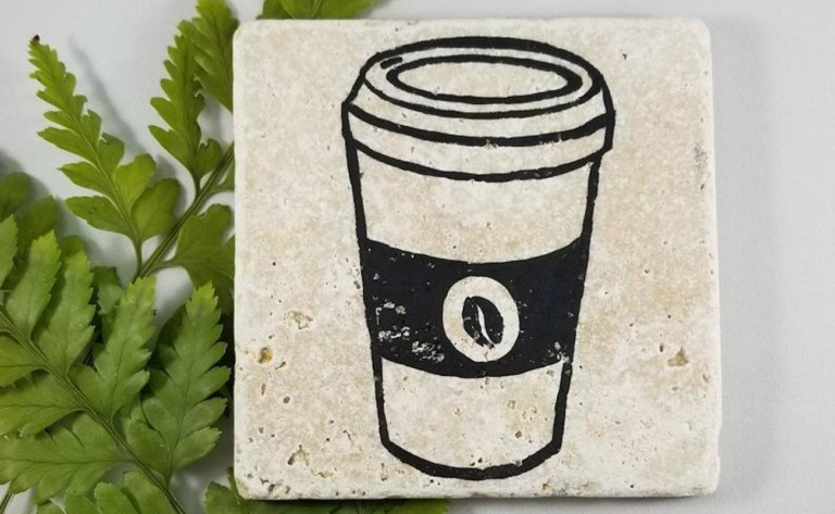 """Travertine <em class=""""algolia-search-highlight"""">Coffee</em> Print Coasters are made from one solid piece of limestone"""