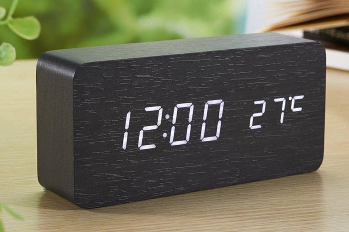 Wooden Digital LED Alarm Clock is a minimalist nightstand accessory