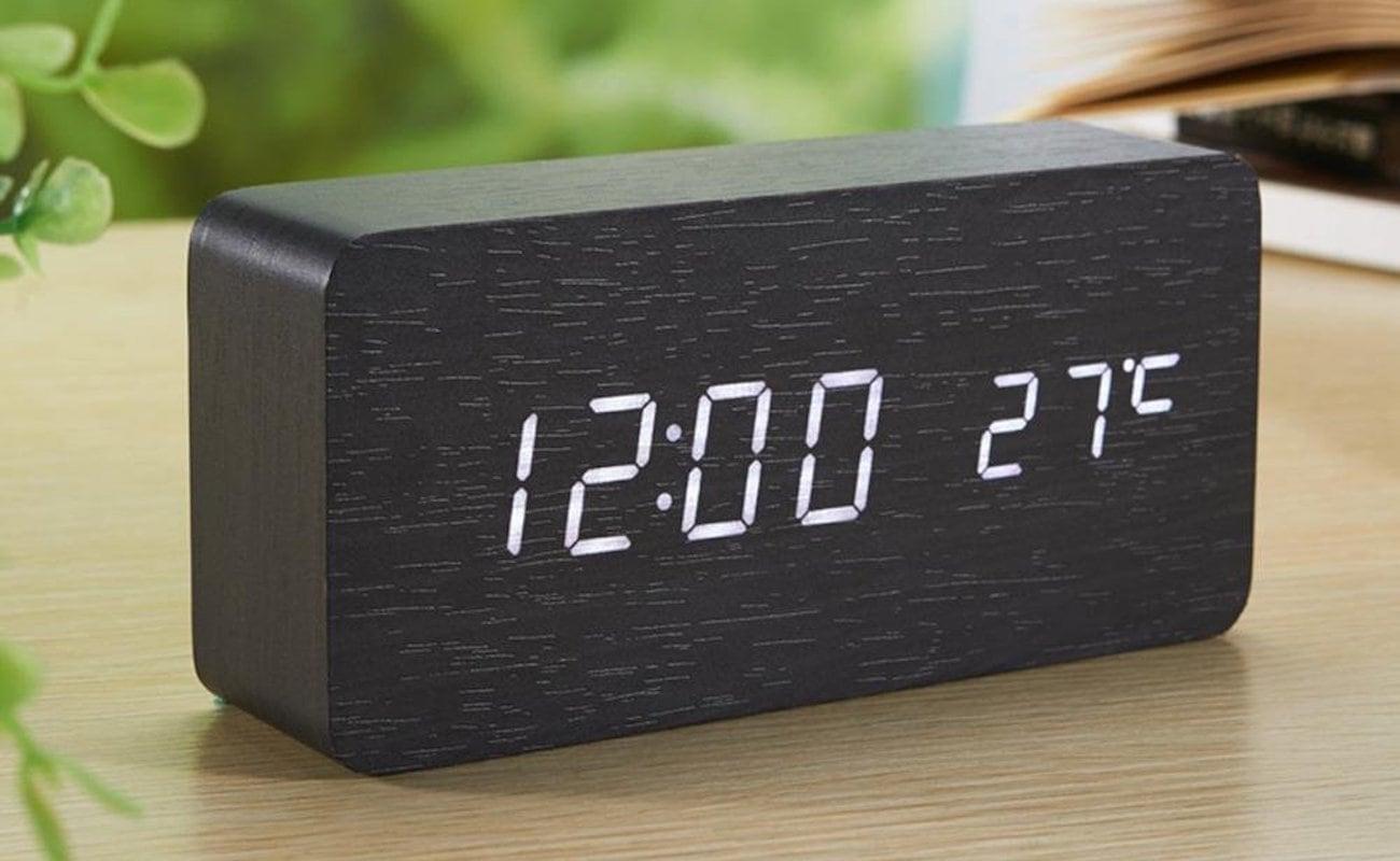Wooden Digital LED Alarm Clock is a minimalist nightstand accessory