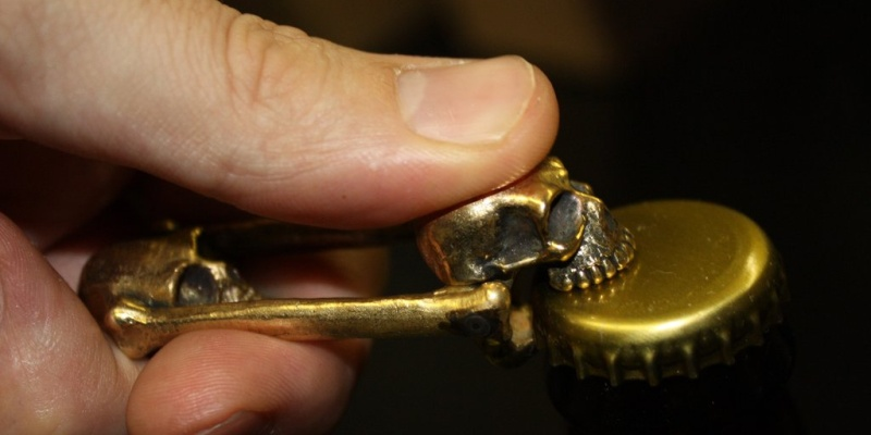 weird gadgets - Bronze Skull Bottle Opener Cropped