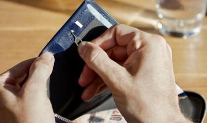 Interior of passport wallet with SIM card