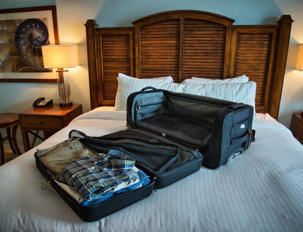 Fully opened suitcase with organization panels