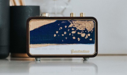Wireless speaker with interesting hand-painted design on the front
