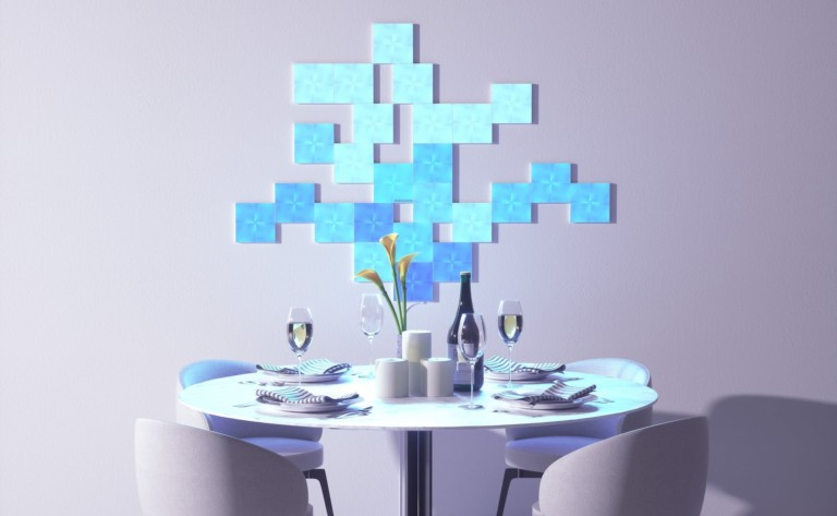 Floral-like arrangement of small light panels