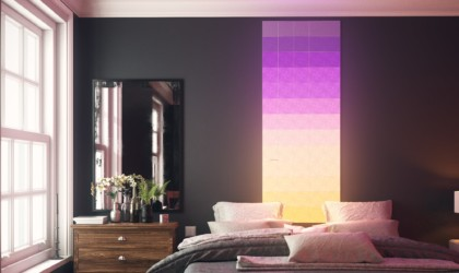 Series of light panels arranged on a wall