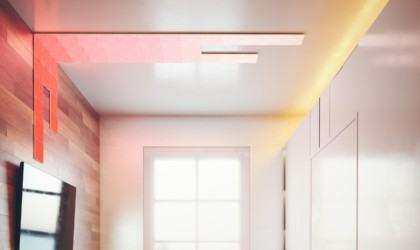 Smart light tiles on a wall and ceiling