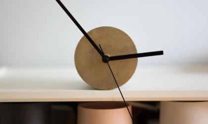 Front view of modern shelf clock